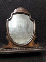 ANTIQUE WOOD Veneer VANITY DRESSER TABLE TOP MIRROR Flowers Leather Back Ornate