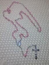 36-Baptism Favors Rosaries Cross Pink Party Recuerdos de Bautizo Rosario