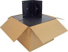 (100) DV4R14BKWT Black Quad 4 DVD 4DVD Cases Boxes SLIM 14mm Hinged Tray Multi