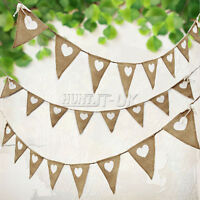 3m Hessian Bunting Vintage Flags Banner Wedding Love Heart Fabric Burlap Party