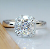 Fashion 925 Silver White Moissanite Engagement Wedding Ring Queen Gift Wholesale