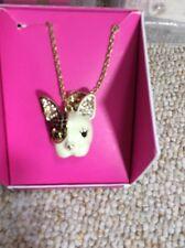 $35 Betsey Johnson Gold Tone Enamel Dog Necklace BN1 F