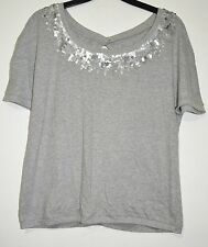 DIAMONDS & DIVAS Blouse Grey Marl Sequin Open Back Tshirt Cotton Size 12 Top
