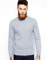 New Mens ex ASOS Crew Neck Cable Knit Work Formal Jumper Sweater Pullover Top