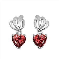 Heart Shape Red Garnet Fashion .925 Sterling Silver Earrings