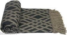 DUBLIN TAUPE BLACK LUXURIOUS SOFT TASSELED THROW BLANKET 140CM X 200CM #NOSIDAM