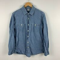 Uniqlo Mens Button Up Shirt Asian Size Large Slim AUS Small Blue Long Sleeve