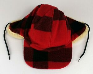 Vintage C.C. Filson Co. Garment Wool Double Mackinaw Trapper Hat Red Plaid Large