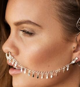 FALSE NOSE RING CHAIN SEPTUM BODY PIERCED EARRINGS EAR STUD FAKE SILVER GOLD UK
