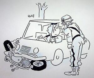 [ Humor - Presse ] Guy Valls - Zopf Fisch - Zeichnung Original Unterzeichnet