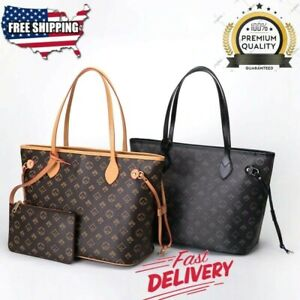 HotLuxury Womens Designer Style Tote Bag Checkered Faux Leather Shoulder Handbag