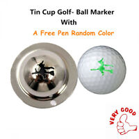 Tin Cup Golf Ball Marker Design Stencil With A Pen Random Color Alignment Tool