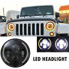 1x7inch Round LED Headlight /w Halo Angle Eyes For Jeep Wrangler JK CJ TJ