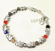 Jewelry Bracelet Tibetan Silver Elephant Multicolor Crystal Ladies Bangle
