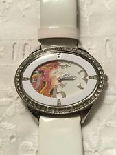 Wrist Watch Portrait of Woman and Snake White Leather Band Ed Hardy