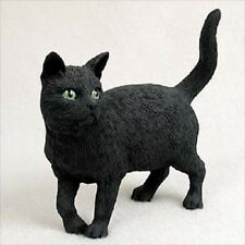 BLACK CAT Figurine kitty shorthair kitten HAND PAINTED COLLECTIBLE Resin Statue