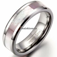 Pink Shell Inlay Tungsten Carbide Ring Womens Lady Girls Engagement Wedding Band