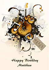 Personalised Music Guitar  Birthday Card