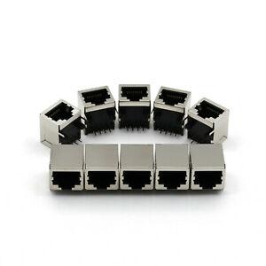 10Pcs RJ45 Right Angle Network Ethernet 8P8C Female Socket PCB Solder Connectors