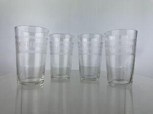 4 Vintage Pall Mall Etched Tumblers Glasses Dram Tot Home Bar High Ball Slim Jim