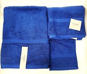 NEW 3 PC KATE SPADE COBALT BLUE,NAVY 100% COTTON BATH,HAND TOWEL,WASH CLOTH