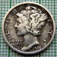 UNITED STATES 1924 P MERCURY DIME - 10 CENTS, PHILADELPHIA, SILVER