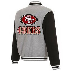 NFL San Francisco 49ers Reversible Full Snap Fleece Jacket JHD Embroidered Logos