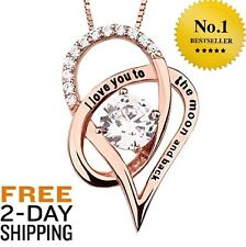 Rose Gold Heart Silver Necklace Pendant Mothers Day Gift Girlfriend Mom Wife