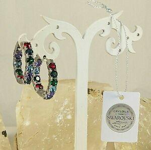 "Swarovski Multi-Color Crystal 1"" Hoop Earrings Platinum Plated"