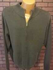 LL BEAN MENS RIBBED COTTON HEAVY CARDIGAN ZIP UP SWEATER Brown Large  D4-1