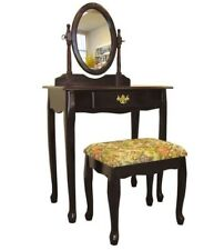 NEW 3 Piece Cherry Bedroom Vanity Set TableTop Drawer Combo  w/ Cushioned Stool