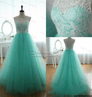 2014 New Long Blue+white Lace Formal Prom/Evening/Party/Wedding dress Ball Gown