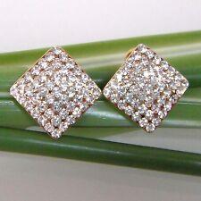 Square 18K GP Clear Crystal Rhinestone Ear-nail Earrings E1026