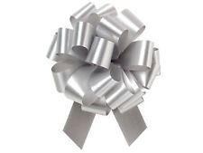 25 SILVER SATIN PULL BOWS GIFT WRAP SUPPLIES Christmas Gifts Wedding Wreaths