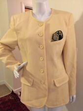 Mondi Blazer Jacket Coat Yellow Cashmere Wool Blend Jacket Size 38 VTG pocket Sq