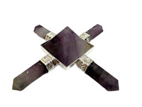 Jet Amethyst Pyramid Energy Generator 4 Points Healing Metaphysical Reiki Sacred