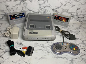 REFURBISHED Super Nintendo SNES console - 2 games 1 official controllers Cables