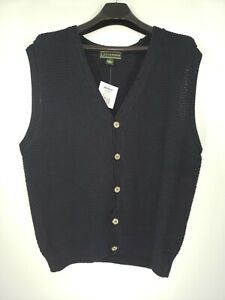 NWT VTG 90s Croft & Barrow XL Solid Blk Loose Knit Button-Up Vneck Sweater Vest