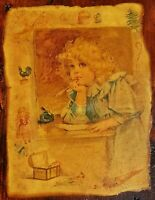 Vintage Decoupage Plaque 60s Blonde Girl Writing at Desk Wood Wall Art Decor