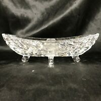 Vintage Clear Cut Glass Footed Etched Mint Dish