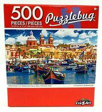 "Mediterranean Fishing Village Boats Jigsaw Puzzle 500 Pieces 18.25""X11"" Piece"