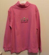 Rosa Shirt Langarm mit Rollkragen und Blumenstickerei Gr. 122