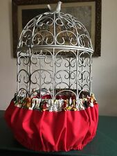 2 Piece Set Red Bold Floral Bird Cage Seed Catcher Skirt & Matching Cover