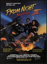 PROM NIGHT III / 3__Original 1990 Trade print AD / horror promo__COURTNEY TAYLOR