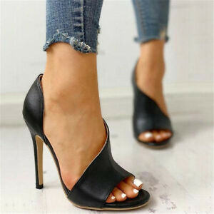 Women Ladies Summer Sandals Casual Open Toe High Heel  Pumps Cut Out Shoes Size