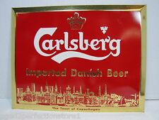 Orig Old Carlsberg Imported Danish Beer Liquor Store Bar Adv Display Sign NOS