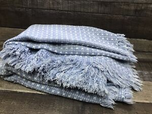 """Vintage Homespun Blue Reversible Checked Fringed Tablecloth 52""""x78"""""""