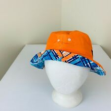 New Uv Skinz Childs Bucket Hat Reversible Blue Plaid Acid Orange Lays Flat Sun