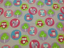~FLANNEL~Woodland~ Owl~Fox~Childrens~Quilting~Fabric~Flannelette~Mauve~Girls~ FQ