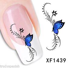 NAIL ART ACQUA trasferimento Decalcomanie Blu Farfalla Fiori UV Tips decorazione (1439)